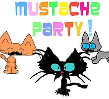 Mustache Party with Kitties by JohnsCatzz