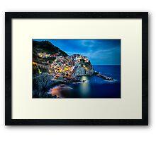 Cinque Terre Night Scenic Framed Print