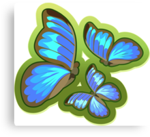 Blue-Colored Butterflies Flying, Illustration Canvas Print