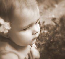 Flower & Girl in Sepia by Evita