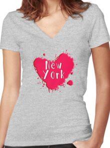 New York Splash Heart New York Women's Fitted V-Neck T-Shirt