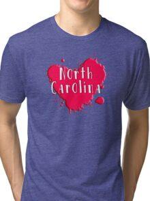 North Carolina Splash Heart North Carolina Tri-blend T-Shirt