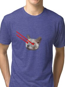 Laser Eyes Cat Tri-blend T-Shirt