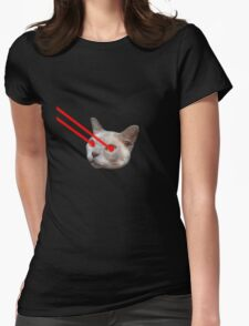 Laser Eyes Cat Womens Fitted T-Shirt