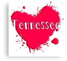 Tennessee Splash Heart Tennessee Canvas Print