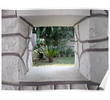 Framed View of gardens and plants through a rectangular gap in the window Poster