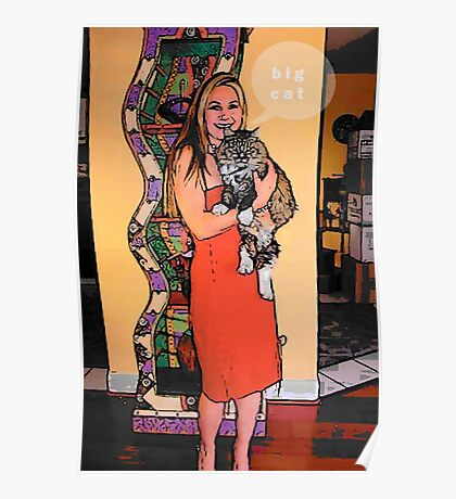 Lady with big cat Poster