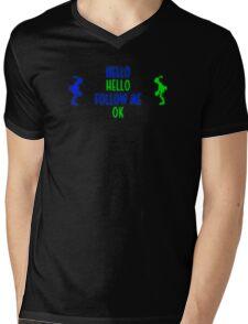 Abe's Hello (Blue & Green Retro) Mens V-Neck T-Shirt