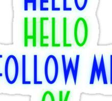 Abe's Hello (Blue & Green Retro) Sticker