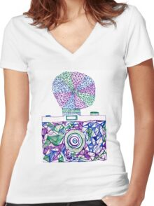 Vintage Camera 4.1 Women's Fitted V-Neck T-Shirt