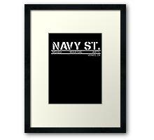 Navy Street Alternate Font- White Framed Print