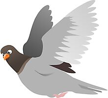 Pigeon Flying Illustration Photographic Print