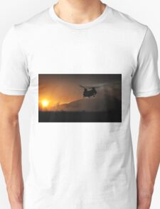 Chinook Helicopter lifting off as the sun sets - Military Art / Army / Air Force  Unisex T-Shirt