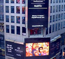 """The Crowded Cafe"" painting In Lights in Time Square NY! by Sharon Geisen Hayes"
