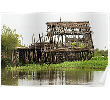 Abandoned Wooden House on Stilts Poster