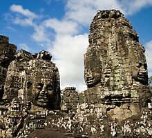 Buddha Carvings in Bayon Temple by Artur Bogacki