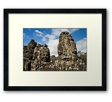 Buddha Carvings in Bayon Temple Framed Print