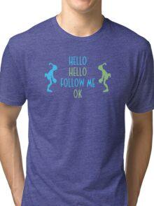Oddworld Abe's Oddysee Hello (Blue & Green) Tri-blend T-Shirt