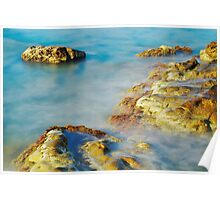 Sea Rocks and Sun Poster