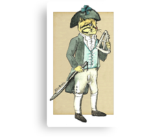 Captain Cat with a a Sextant Canvas Print