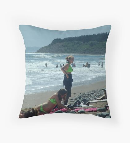We Love The Beach Throw Pillow