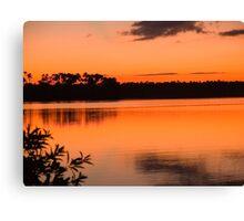 sunset on Lake Sandoval, Madre de Dios, Peru Canvas Print