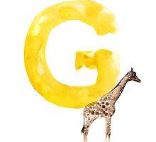 Watercolor alphabet G giraffe art by Joanna Szmerdt