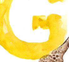 Watercolor alphabet G giraffe art Sticker