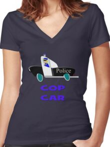 Cop Car - Watch Out design Women's Fitted V-Neck T-Shirt