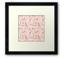Seamless hand drawing pattern of city Framed Print