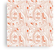 Seamless hand drawing pattern of city Canvas Print