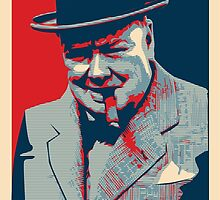 Smoke - Churchill with cigar obama style poster graphic by Neal Wollenberg