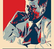 Smoke - Kennedy with cigar obama style poster graphic by Neal Wollenberg