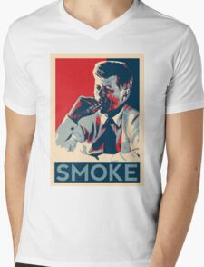 Smoke - Kennedy with cigar obama style poster graphic Mens V-Neck T-Shirt