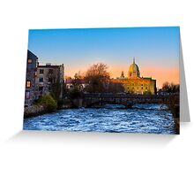 Galway Cathedral - Sunset On The River Corrib Greeting Card