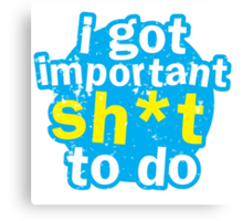 I got important sh*t to do Canvas Print