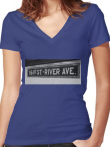 161st Street - River Ave Women's Fitted V-Neck T-Shirt