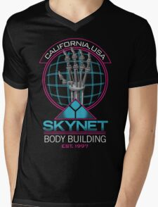 SKYNET Body Building Mens V-Neck T-Shirt
