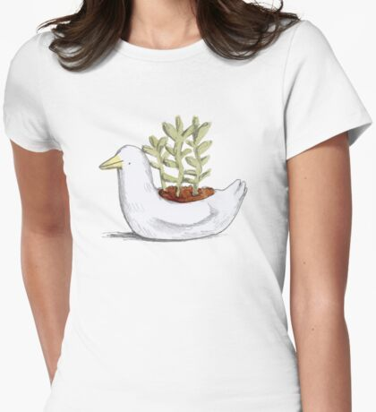 Succulent in Duck Planter Womens Fitted T-Shirt