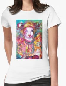 Pierrot with Cat  / Venetian Masquerade Masks Womens Fitted T-Shirt