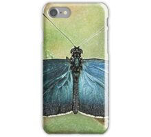Blue Butterfly on a Leaf iPhone Case/Skin
