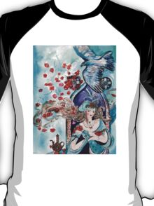 ORIENTAL FAIRY TALE / PRINCESS ,RED ROSES AND FLYING  HAWK T-Shirt