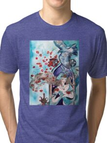 ORIENTAL FAIRY TALE / PRINCESS ,RED ROSES AND FLYING  HAWK Tri-blend T-Shirt