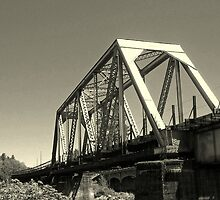 Truss railroad bridge over the Rogue river by heechasky