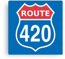 Route 420 Red Blue White US highway sign Canvas Print