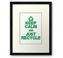 KEEP CALM & JUST RECYCLE Framed Print