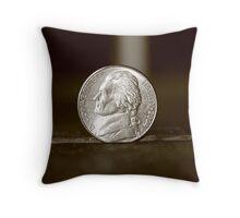 nickel coin Throw Pillow