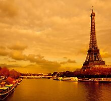 Tour Eiffel - Vintage Golden Parisian Landscape by Mark Tisdale