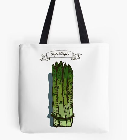 watercolor hand drawn vintage illustration of asparagus Tote Bag