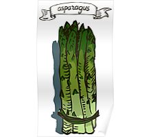 watercolor hand drawn vintage illustration of asparagus Poster